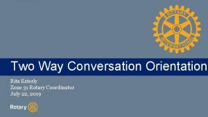 Two TITLE Way Conversation Orientation Rita Esterly Zone