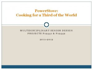 Power Stove Cooking for a Third of the