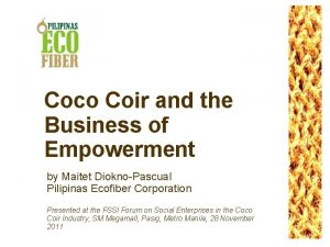 Coco Coir and the Business of Empowerment by