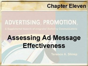 Chapter Eleven Assessing Ad Message Effectiveness Chapter Eleven