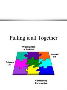 Pulling it all Together Organization al Policies Internal