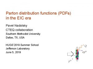 Parton distribution functions PDFs in the EIC era