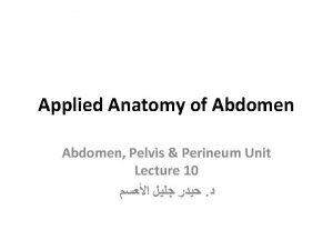 Applied Anatomy of Abdomen Pelvis Perineum Unit Lecture