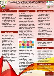 BIOETHICS REFLECTIONS INVOLVING THE 2030 AGENDA FOR SUSTAINABLE