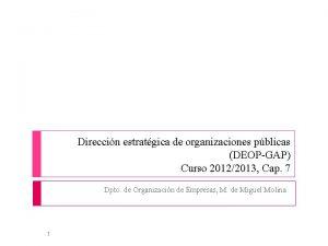 Direccin estratgica de organizaciones pblicas DEOPGAP Curso 20122013