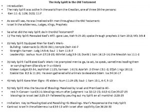 The Holy Spirit in the Old Testament Introduction