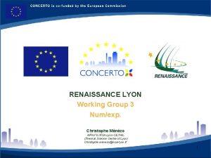 RENAISSANCE LYON FRANCE RENAISSANCE LYON Working Group 3