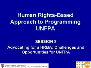 Human RightsBased Approach to Programming UNFPA SESSION 8