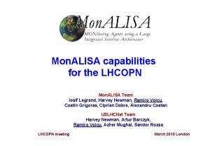 Mon ALISA capabilities for the LHCOPN Mon ALISA
