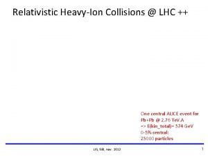 Relativistic HeavyIon Collisions LHC One central ALICE event