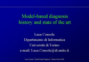 Modelbased diagnosis history and state of the art
