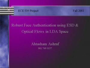 ECE 539 Project Fall 2001 Robust Face Authentication
