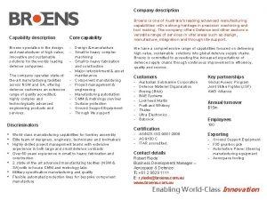 Company description Capability description Core capability Design manufacture