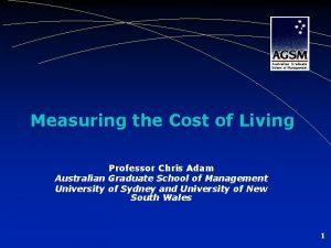 Measuring the Cost of Living Professor Chris Adam