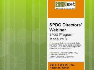 SPDG Directors Webinar SPDG Program Measure 3 Presenters