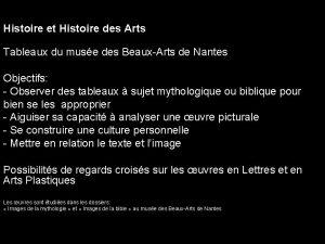 Histoire et Histoire des Arts Tableaux du muse