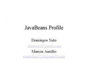 Java Beans Profile Domingos Neto drmnetogmail com Marcos