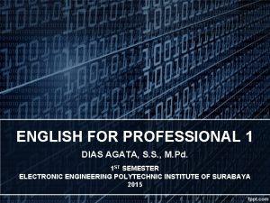 ENGLISH FOR PROFESSIONAL 1 DIAS AGATA S S