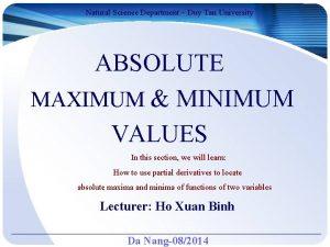Natural Science Department Duy Tan University ABSOLUTE MAXIMUM