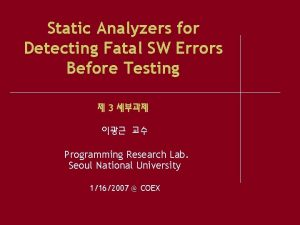 Static Analyzers for Detecting Fatal SW Errors Before