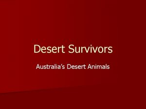 Desert Survivors Australias Desert Animals Australias Desert Animals