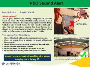 PDO Second Alert Date 10 9 2016 Incident