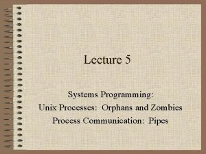 Lecture 5 Systems Programming Unix Processes Orphans and
