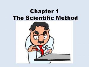 Chapter 1 The Scientific Method The Scientific Method