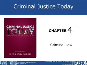 Criminal Justice Today CHAPTER 4 BOOK COVER Criminal