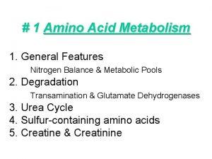 1 Amino Acid Metabolism 1 General Features Nitrogen