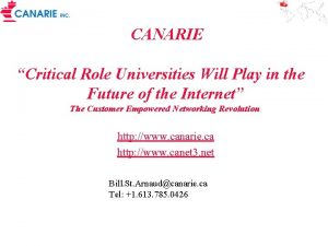 CANARIE Critical Role Universities Will Play in the
