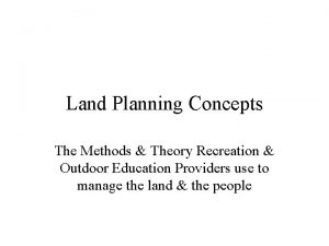 Land Planning Concepts The Methods Theory Recreation Outdoor