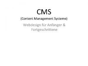 CMS Content Management Systeme Webdesign fr Anfnger Fortgeschrittene