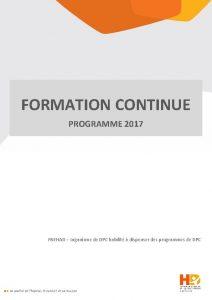FORMATION CONTINUE PROGRAMME 2017 FNEHAD organisme de DPC