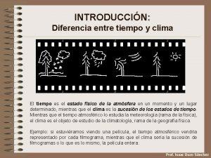 INTRODUCCIN Diferencia entre tiempo y clima El tiempo