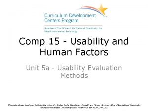 Comp 15 Usability and Human Factors Unit 5