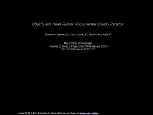 Obesity and Heart Failure Focus on the Obesity