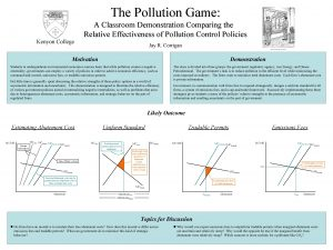 The Pollution Game Kenyon College A Classroom Demonstration