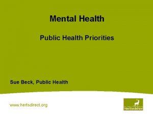 Mental Health Public Health Priorities Sue Beck Public