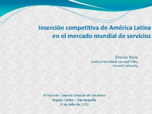 Insercin competitiva de Amrica Latina en el mercado