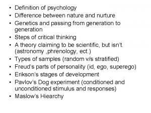 Definition of psychology Difference between nature and nurture
