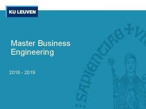 Master Business Engineering 2018 2019 Whos who Whos
