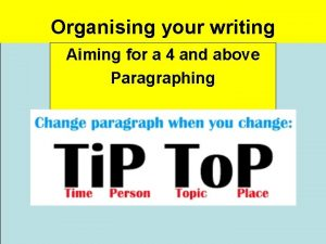 Organising your writing Aiming for a 4 and