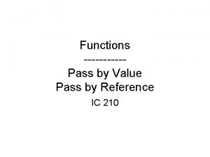 Functions Pass by Value Pass by Reference IC