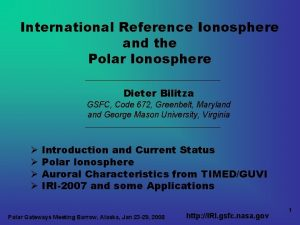 International Reference Ionosphere and the Polar Ionosphere Dieter