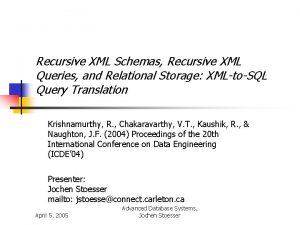 Recursive XML Schemas Recursive XML Queries and Relational