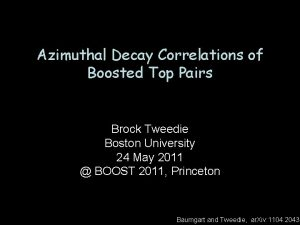Azimuthal Decay Correlations of Boosted Top Pairs Brock