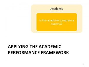 Academic Is the academic program a success APPLYING