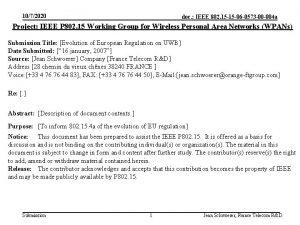 1072020 doc IEEE 802 15 15 06 0573