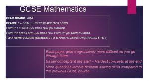 GCSE Mathematics EXAM BOARD AQA EXAMS 3 BOTH